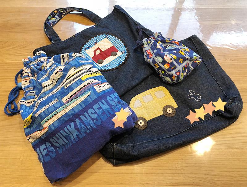 保育園登園バッグ・コップ袋・パジャマ袋・絵本袋